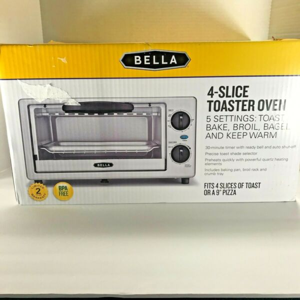 Bella 4 Slice Toaster oven 5 settings toast bake broil bagel warm