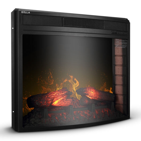 28quot; Electric Firebox Fireplace Heater Insert Curve Glass Panel w Remote Black