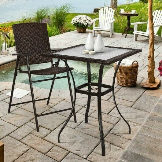 Outdoor Patio Square Bar Table With Glass Top amp; Rattan Edging Weather Resistant $154.99