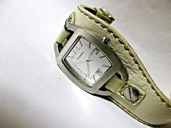 Fossil F2 Quartz Analog Ladies Watch Leather Band DATE New Battery NICE