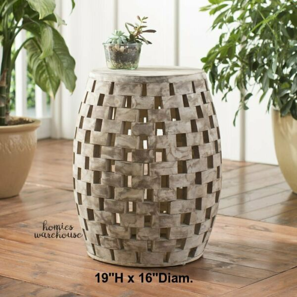 Rustic Wood Stool End Table Cabin Outdoor Indoor Stand Patio Side Seat Furniture $84.96