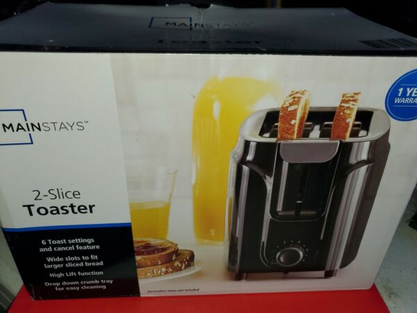 Mainstays 2 Slice Black Toaster. New in box.D