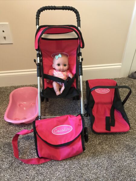 Used Pink Cocolin Doll Accessories: Toy Stroller Chair Diaper Bag Bathtub $49.94