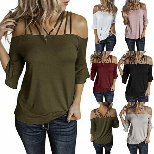 Women Off Shoulder Sexy T Shirt Flare Short Sleeve Plus Size Solid Tops Blouse