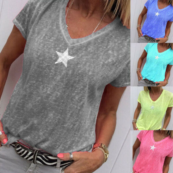 Women Summer Solid T Shirt V Neck Short Sleeves Tops Loose Casual Blouse Plus