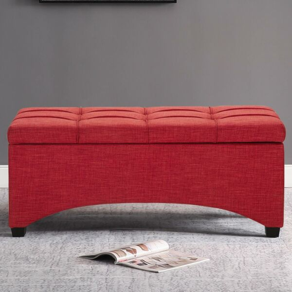 Contemporary Storage Ottoman Coffee Table Bench Tufted Modern Living Room Entry
