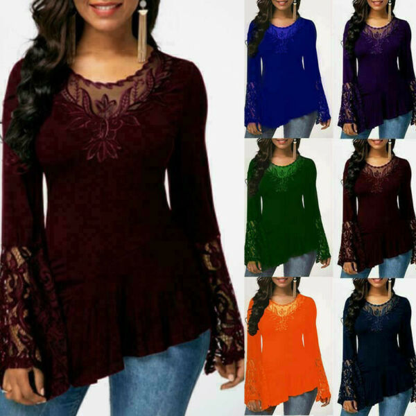 Womens Casual Long Sleeve Loose Blouse Tunic Lace T Shirt Crew Neck Basic Flower