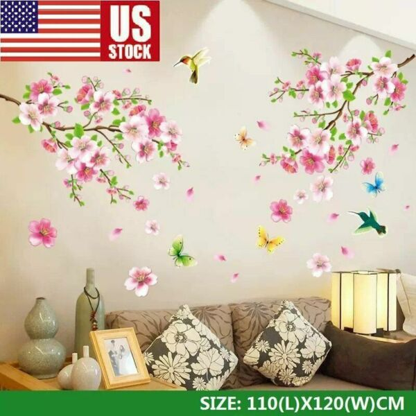 NEW Cherry Blossom Wall Decal Pink Flower Tree Wall Decal For Home DIY Decor USA