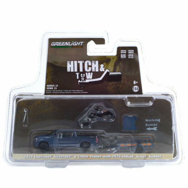 1 64 2020 Chevrolet Silverado with Trailer and 2020 Indian Motorcycle 32210 D $69.00