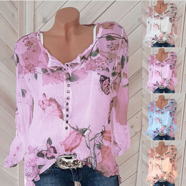 Womens V Neck Long Sleeve Floral Slim T Shirt Top Casual Button Loose Blouse Tee