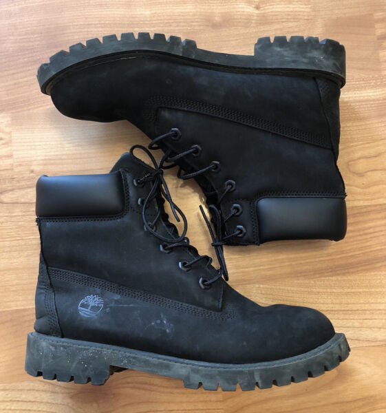 Timberland Black Leather Waterproof Lace Up Boots 8658A youth 6.5M Women 8 $57.99