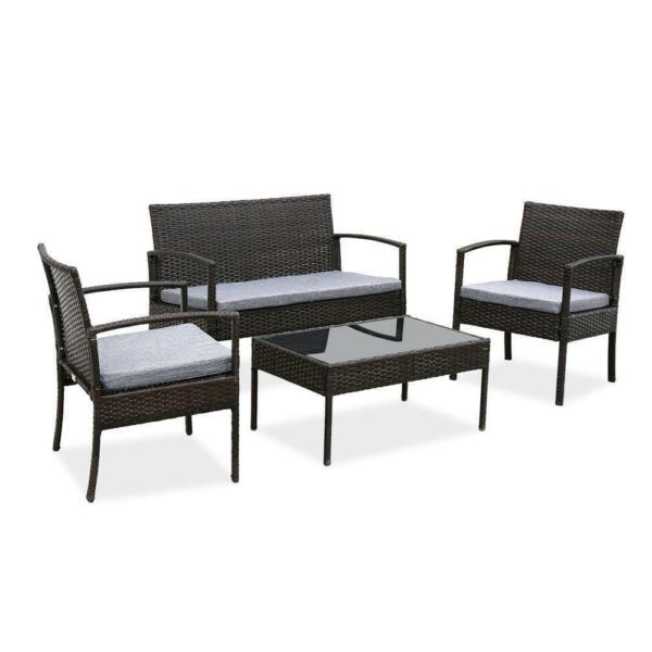 4PC In Outdoor Patio Lawn Sofa Set Rattan Wicker Furniture Table Cushion Garden
