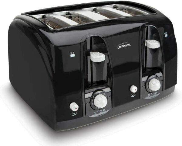 Sunbeam Extra Wide Slot Cool Touch 4 Slice Black Toaster