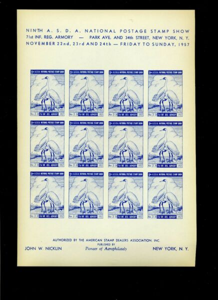 4 DIFFERENT COLOR IMPERF SHEETS 1957 ASDA NATIONAL POSTAGE STAMP SHOW L740 NY $34.99