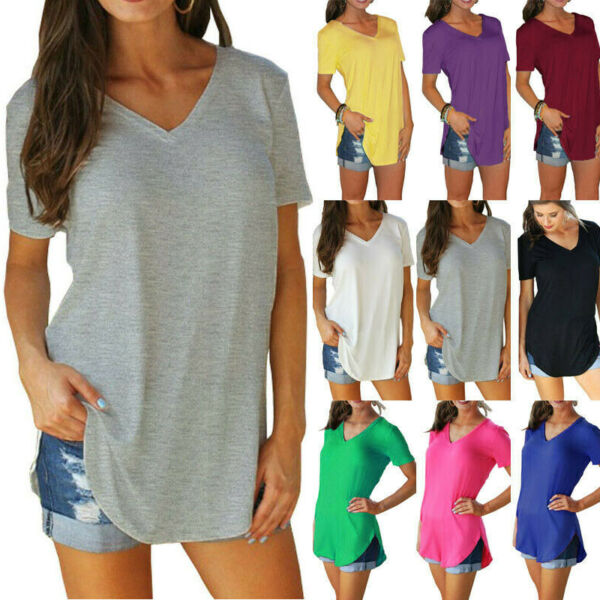 Womens V Neck Short Sleeve Tunic T Shirt Solid Loose Blouse Casual Summer Tops