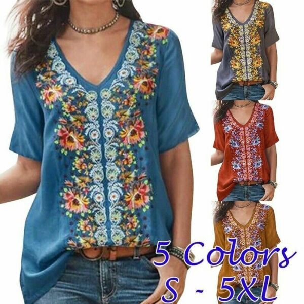 Womens V Neck Short Sleeve Summer T Shirt Floral Casual Tops Plus Size Blouse