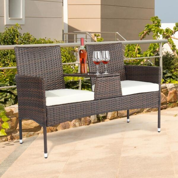 Patio Furniture Garden Lawn Pool Seat Rattan Wicker Lover Chair Yard Outdoor Set