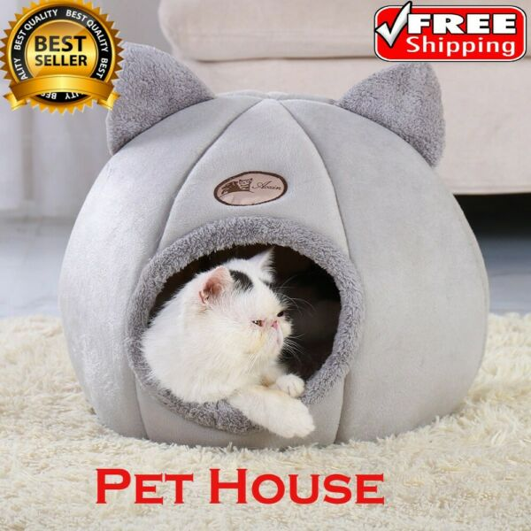 Cat House Bed Soft Warm Cave Winter Puppy Kitten Pet Dog Removable Cushion Mat $29.99