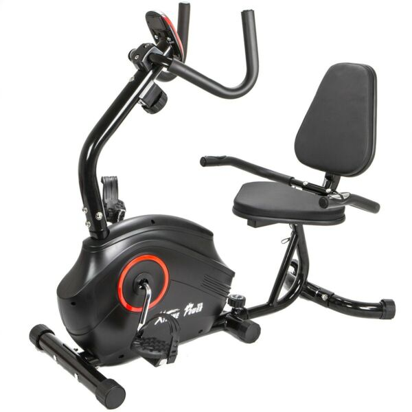 Deluxe Fitness Exercise Bike Stationary 8 Level Magnetic Recumbent Cycle Black $204.95