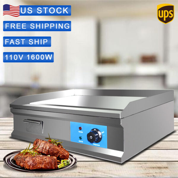 BBQ 25.5quot; Countertop Electric Flat Griddle 1600W Restaurant Top Grill Commercial