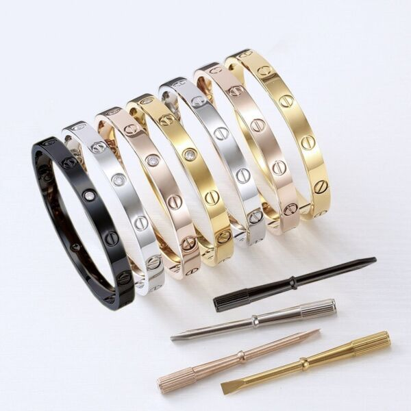 18k Gold Plated Stainless Steel Love Bracelet With Screwdriver amp; CZ Sizes 16 21
