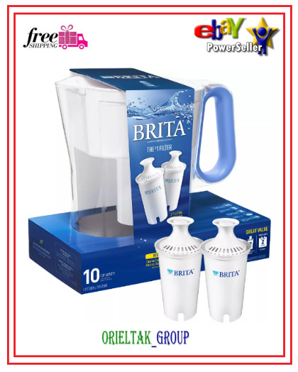 Brita Large 10 Cup Water Filter Pitcher with 2 Standard Filters=free shipping=