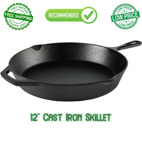 12 Inch Cast Iron Skillet Frying Oven With Handle Cooking Pre Seasoned Cookware