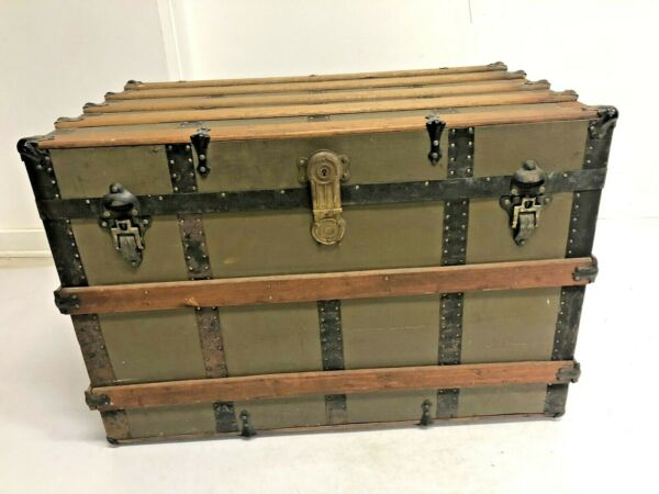 Vintage WOOD STEAMER TRUNK chest coffee table storage box luggage antique brown $149.99