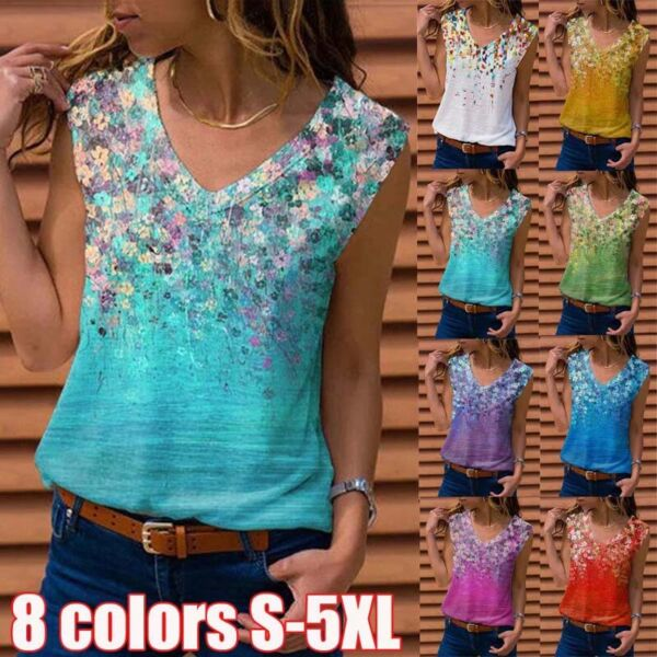 Women Sleeveless V neck Printed Tank Casual Blouse Solid Plus Size Top T shirt