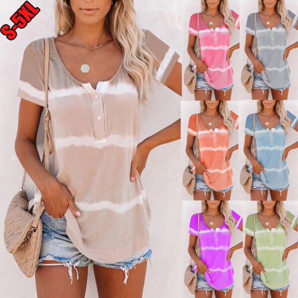 Women V Neck Short Sleeved Printed T Shirt Casual Blouse Button Tie Dye Plus Top