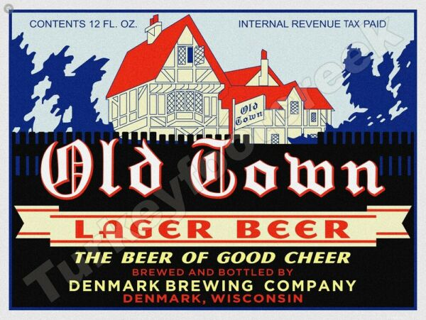 OLD TOWN LAGER BEER LABEL 9quot; x 12quot; METAL SIGN