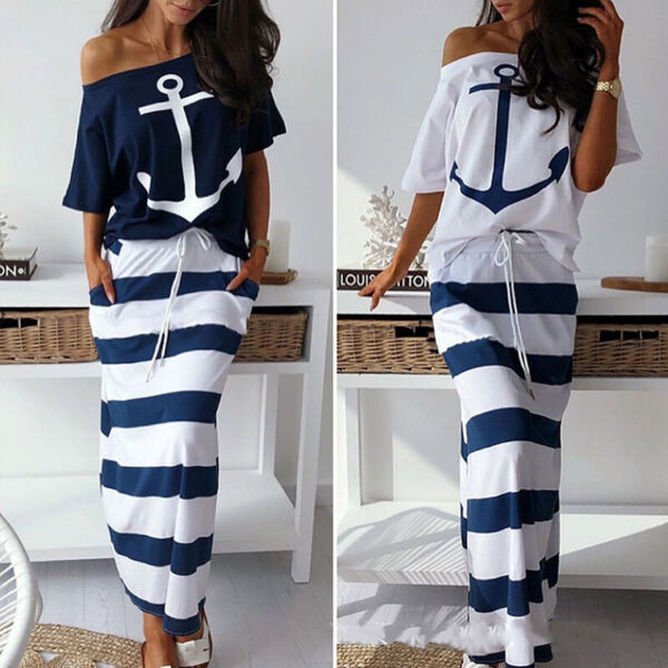 Women Ladies Casual Sexy Boho Sailor Slim Long Maxi Dress Summer Sundress Party