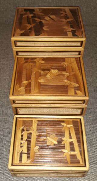 Set Of 3 Wooden Boxes Stacking Nesting Wood Bamboo Inlay Decorated Velvet Lined