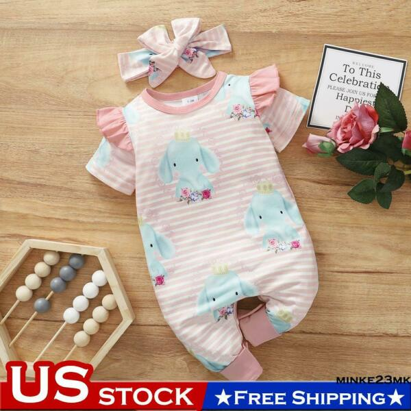 Newborn Baby Girls Printed Romper Bodysuit Clothes Set Jumpsuit Playsuit Outfits