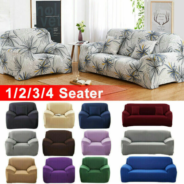 1 2 3 4 Seater Sofa Covers Slipcover Couch Stretch Elastic Fabric Protector US $26.99