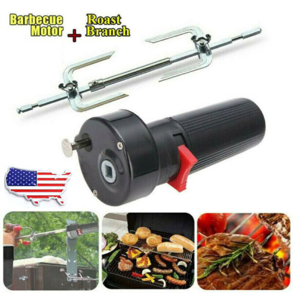 Electric BBQ Rotisserie Grill Roast Rod Spit Tools Motor Meat Skewer Universal