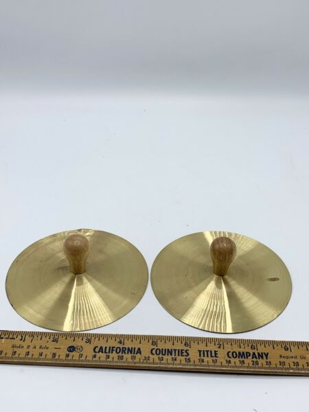 Vintage Small Brass Cymbals Wooden handles