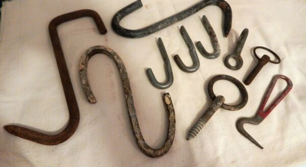 Vintage Collection of 10 Old Iron Barn Farm Items Old Primitive Meat Hooks.
