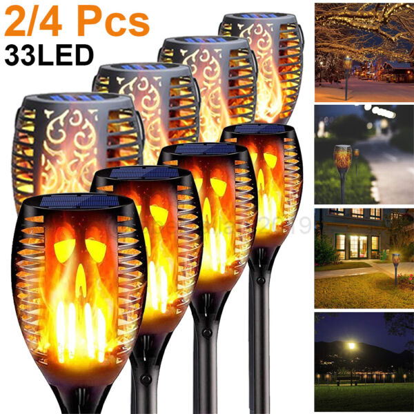 Flickering LED Solar Flame Torch Light Outdoor Garden Yard Lawn Pathway Lamp USA