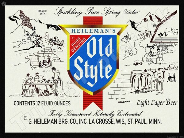 HEILEMANS OLD STYLE BEER LABEL 9quot; x 12quot; METAL SIGN