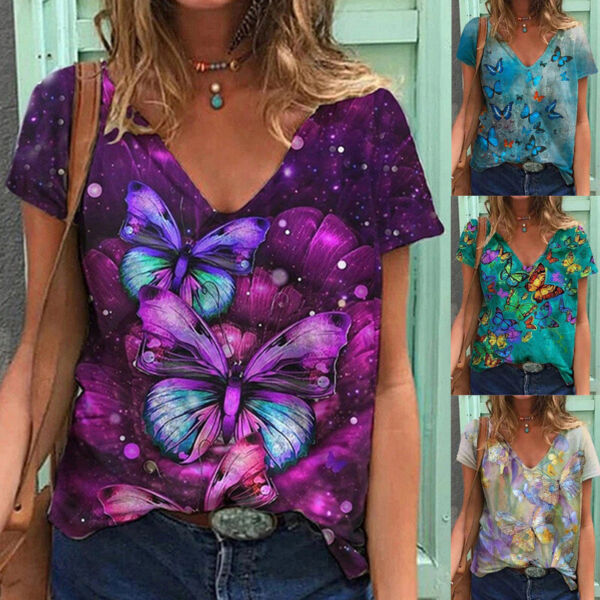 Women V Neck Short Sleeve Butterfly Print T Shirt Casual Loose Plus Pullover Top