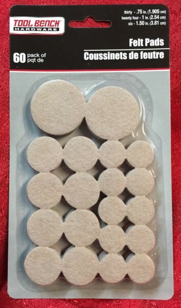 60 Pc Self Adhesive Felt Pads Furniture Floor Scratch Protector Beige $5.89
