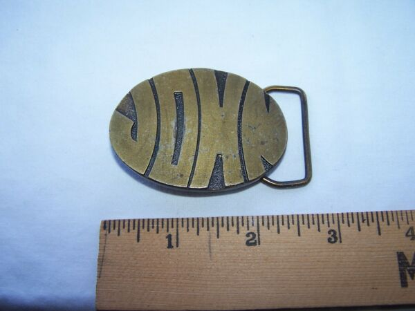 Vintage JOHN Belt Buckle HUMPHREY#x27;S LEATHER GOODS Chunky Block Letters