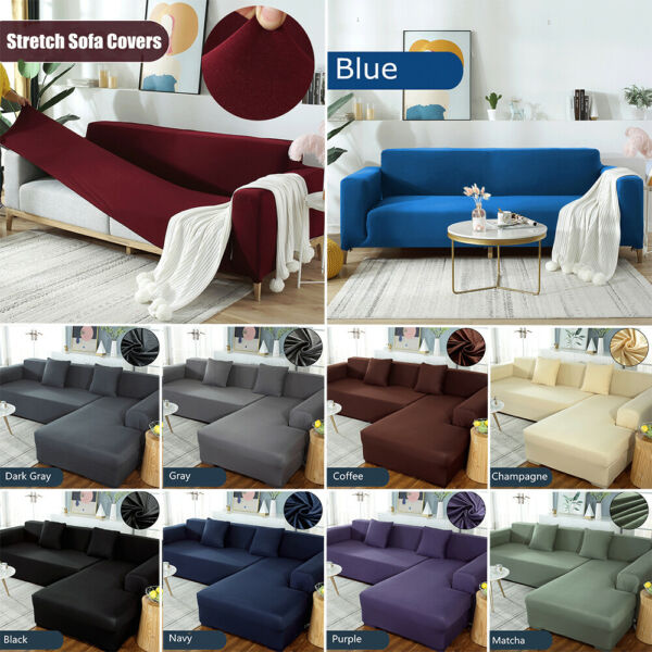 L Shaped Stretch Sectional Sofa Cover Seat Couch Slipcovers Furniture Protectors $23.99