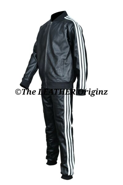 Men Hot Leather Tracking suit with stripes $255.00
