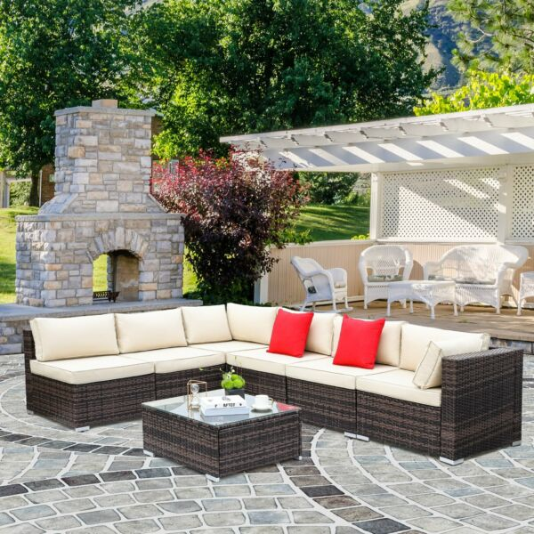 7pcs Outdoor Patio Sectional Furniture PE Wicker Rattan Sofa Set Cushioned Couch $669.99