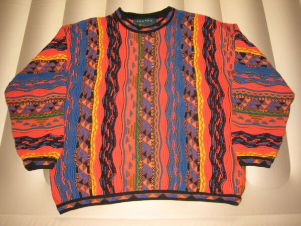 Vintage Tundra Men#x27;s L Multi Colored Cotton Sweater Cosby Coogi Style XLNT $175.00