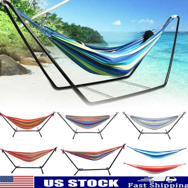 Multicolor 2 Person Portable Hanging Hammock Swing Camping Canvas Bed Heavy Duty $19.56