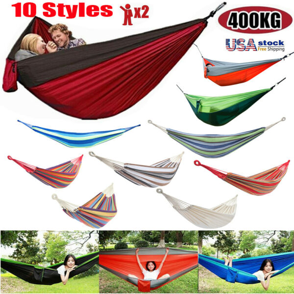 Cotton Rope Hanging Hammock Swing Camping Canvas Bed w Heavy Duty Strap Hook US $21.27