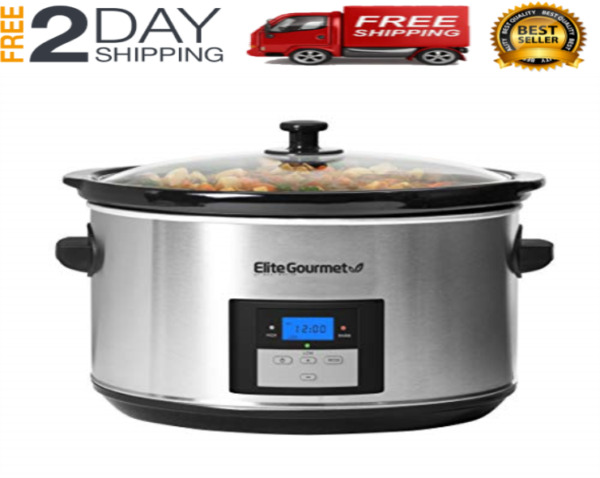 Large Capacity Crock Pot Stainless Steel Slow Cooker Oval Manual 8.5 Quart Cook